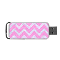 Chevron9 White Marble & Pink Colored Pencil Portable Usb Flash (two Sides) by trendistuff