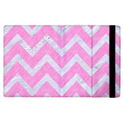 Chevron9 White Marble & Pink Colored Pencil Apple Ipad 3/4 Flip Case by trendistuff