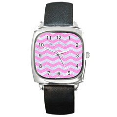 Chevron3 White Marble & Pink Colored Pencil Square Metal Watch by trendistuff