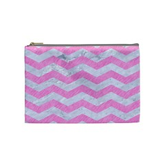 Chevron3 White Marble & Pink Colored Pencil Cosmetic Bag (medium)  by trendistuff