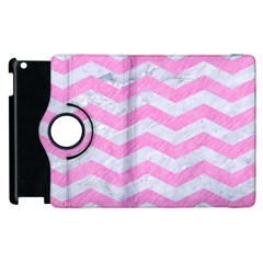 Chevron3 White Marble & Pink Colored Pencil Apple Ipad 3/4 Flip 360 Case by trendistuff
