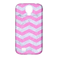 Chevron3 White Marble & Pink Colored Pencil Samsung Galaxy S4 Classic Hardshell Case (pc+silicone)