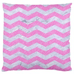 Chevron3 White Marble & Pink Colored Pencil Standard Flano Cushion Case (one Side) by trendistuff