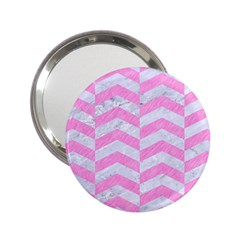 Chevron2 White Marble & Pink Colored Pencil 2 25  Handbag Mirrors by trendistuff