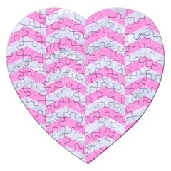 Chevron2 White Marble & Pink Colored Pencil Jigsaw Puzzle (heart)