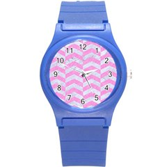 Chevron2 White Marble & Pink Colored Pencil Round Plastic Sport Watch (s) by trendistuff
