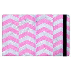 Chevron2 White Marble & Pink Colored Pencil Apple Ipad 2 Flip Case by trendistuff