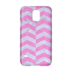 Chevron2 White Marble & Pink Colored Pencil Samsung Galaxy S5 Hardshell Case  by trendistuff