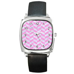 Chevron1 White Marble & Pink Colored Pencil Square Metal Watch by trendistuff
