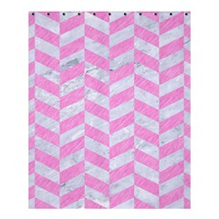 Chevron1 White Marble & Pink Colored Pencil Shower Curtain 60  X 72  (medium)  by trendistuff