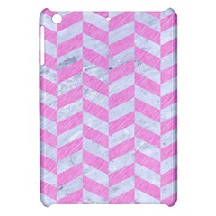 Chevron1 White Marble & Pink Colored Pencil Apple Ipad Mini Hardshell Case by trendistuff