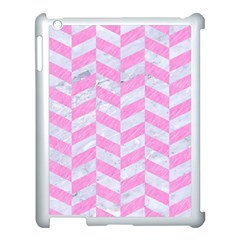 Chevron1 White Marble & Pink Colored Pencil Apple Ipad 3/4 Case (white) by trendistuff