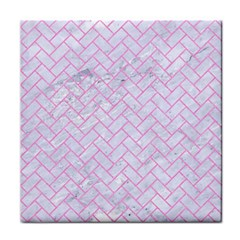 Brick2 White Marble & Pink Colored Pencil (r) Tile Coasters by trendistuff
