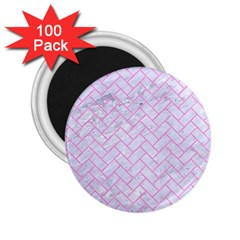 Brick2 White Marble & Pink Colored Pencil (r) 2 25  Magnets (100 Pack)  by trendistuff