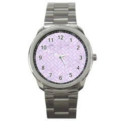 Brick2 White Marble & Pink Colored Pencil (r) Sport Metal Watch