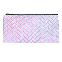 Brick2 White Marble & Pink Colored Pencil (r) Pencil Cases by trendistuff