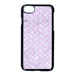 Brick2 White Marble & Pink Colored Pencil (r) Apple Iphone 7 Seamless Case (black) by trendistuff
