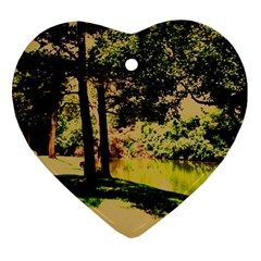 Hot Day In Dallas 25 Heart Ornament (two Sides) by bestdesignintheworld