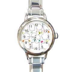 Set Chalk Out Chitchat Scribble Round Italian Charm Watch