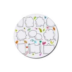 Set Chalk Out Chitchat Scribble Rubber Coaster (round)  by Nexatart