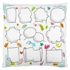 Set Chalk Out Chitchat Scribble Large Flano Cushion Case (one Side) by Nexatart