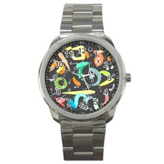 Repetition Seamless Child Sketch Sport Metal Watch