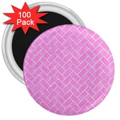 Brick2 White Marble & Pink Colored Pencil 3  Magnets (100 Pack) by trendistuff
