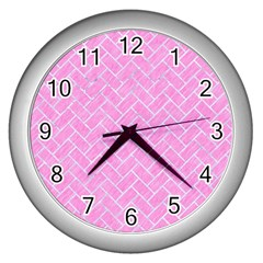 Brick2 White Marble & Pink Colored Pencil Wall Clocks (silver)  by trendistuff