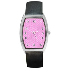 Brick2 White Marble & Pink Colored Pencil Barrel Style Metal Watch