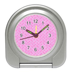 Brick2 White Marble & Pink Colored Pencil Travel Alarm Clocks by trendistuff