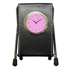 Brick2 White Marble & Pink Colored Pencil Pen Holder Desk Clocks by trendistuff