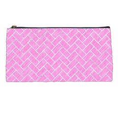 Brick2 White Marble & Pink Colored Pencil Pencil Cases by trendistuff