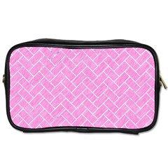 Brick2 White Marble & Pink Colored Pencil Toiletries Bags 2 Side by trendistuff