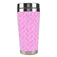 Brick2 White Marble & Pink Colored Pencil Stainless Steel Travel Tumblers by trendistuff