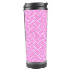 Brick2 White Marble & Pink Colored Pencil Travel Tumbler by trendistuff