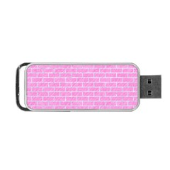 Brick1 White Marble & Pink Colored Pencilbrick1 White Marble & Pink Colored Pencil Portable Usb Flash (one Side) by trendistuff