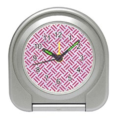 Woven2 White Marble & Pink Denim (r) Travel Alarm Clocks by trendistuff