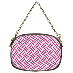 Woven2 White Marble & Pink Denim (r) Chain Purses (two Sides)  by trendistuff