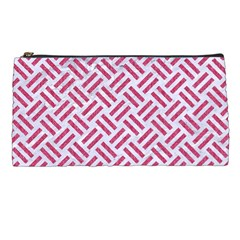 Woven2 White Marble & Pink Denim (r) Pencil Cases by trendistuff