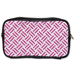 Woven2 White Marble & Pink Denim (r) Toiletries Bags by trendistuff
