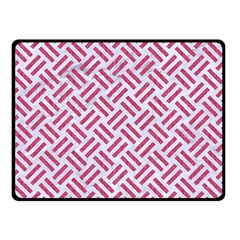 Woven2 White Marble & Pink Denim (r) Double Sided Fleece Blanket (small)  by trendistuff