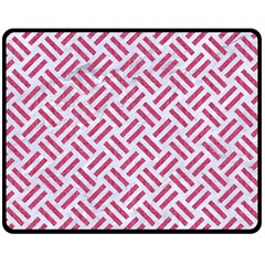 Woven2 White Marble & Pink Denim (r) Double Sided Fleece Blanket (medium)  by trendistuff