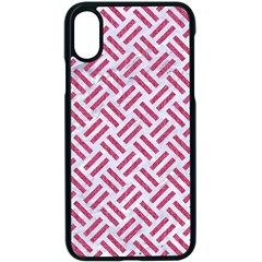 Woven2 White Marble & Pink Denim (r) Apple Iphone X Seamless Case (black)