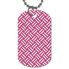 Woven2 White Marble & Pink Denim Dog Tag (two Sides) by trendistuff