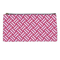 Woven2 White Marble & Pink Denim Pencil Cases by trendistuff
