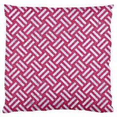Woven2 White Marble & Pink Denim Large Cushion Case (two Sides) by trendistuff