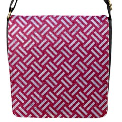 Woven2 White Marble & Pink Denim Flap Messenger Bag (s) by trendistuff