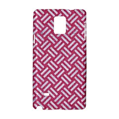 Woven2 White Marble & Pink Denim Samsung Galaxy Note 4 Hardshell Case by trendistuff