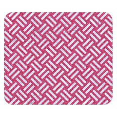 Woven2 White Marble & Pink Denim Double Sided Flano Blanket (small)  by trendistuff