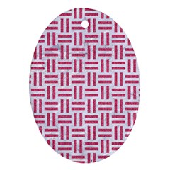 Woven1 White Marble & Pink Denim (r) Oval Ornament (two Sides) by trendistuff